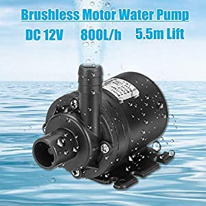 Birmingfive Submersible Pump 800L/H 19W, DC 12V Ultra Quiet Brushless Motor Water Pump with 18ft High Lift, Fountain Pump for Fish Tank, Pond, Aquarium and Hydroponics (Tamaño: dc12v (3.1x3x1.9 inch ))