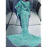 YUSHOP Mermaid Tail Blanket Soft Cozy Cotton Gift for...