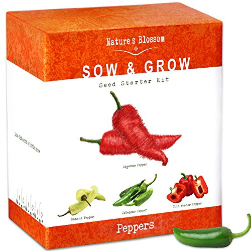 Grow 4 Pepper Varieties From Seed - Cayenne Pepper, Hot Jalapeno, Sweet Red Bell Peppers & Yellow Chili Organic Seeds. Indoor Growing Kit With Planting Pots, Potting Soil, Plant Markers - Organic Seeds Sow