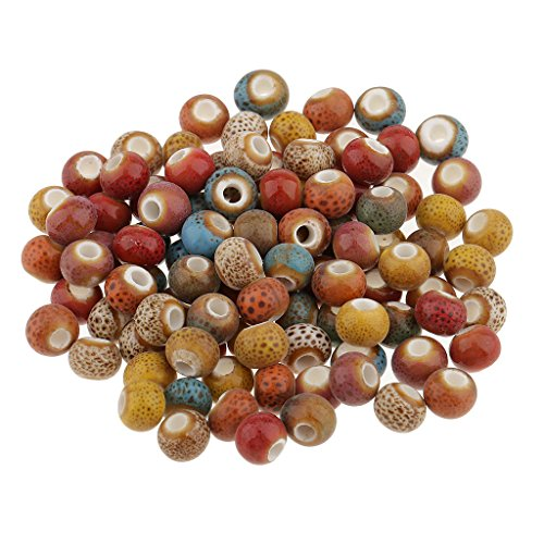 Jili Online 100 Pieces Vintage Style Round Ceramic Loose Beads Spacer Bead for DIY Materials 7#