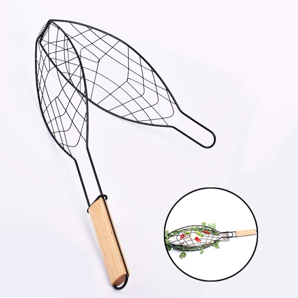 Haga BBQ Basket Fish Grilling Basket Non-Stick BBQ Meshes Camping Grill Rack Single Fish Basket w/Wood Handle Barbecue Fish Grilled Folder Clip