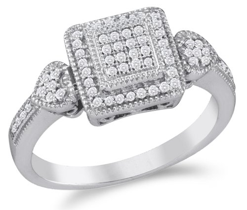 Size 7 - 10K White Gold Diamond Heart Halo Style Engagement OR Fashion Right Hand Ring Band - Square Princess Shape Center Setting w/ Micro Pave Set Round Diamonds - (1/5 (Round Diamond Right Hand Ring)