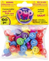 1 X Pop Beads 60/Pkg-Alphabet And Smiley Multicolor