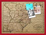 PinPix custom printed pin cork bulletin board made from canvas, United States Map 31 x 24 Inches (Completed Size) and framed in Red Stain on Beech (PinPix-659)