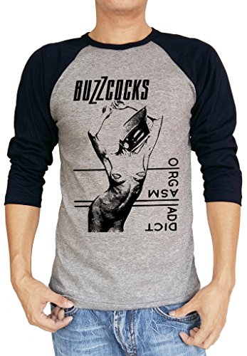 Buzzcocks Orgasm Addict Logo Baseball Tee Raglan 3/4 Sleeve Men's T Shirt X-Large Heather Grey/Navy Blue