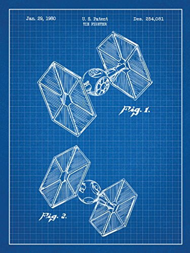 Inked and Screened SP_SYFI_254,081_BG_24_W Sci-Fi and Fantasy Star Wars Vehicles: Tie Fighter Print, Blue Grid-White Ink, 18