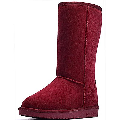Shoes Casual for Black Mid Winter Boots HSXZ Black Snow Burgundy Boots Coffee ZHZNVX Almond leather Calf Flat Gray Comfort Fall Boots Nubuck Women's Z1Eqxaf
