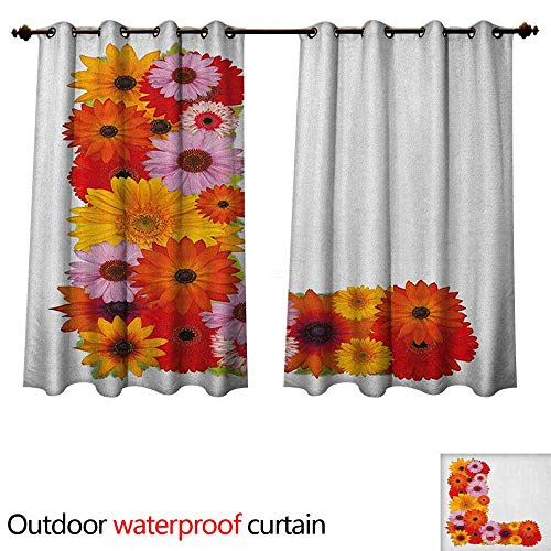 Letter L Outdoor Curtain for Patio Flower Alphabet with Gerbera Petals Fragrance Flourishing Nature Garden Symbols W55 x L45(140cm x - Fragrance High Monster