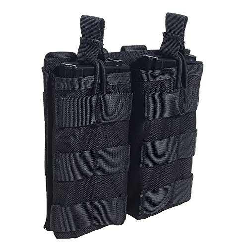 System M4 Double Mag Pouch - Loglife Tactical Magazine Pouch Holds Holster Double Pistol Mag Pouch Stacker M4/M16 Open Top 1000d with Bungee System (BK)
