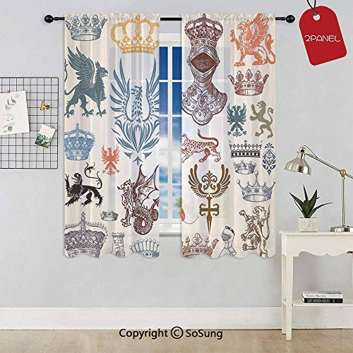 (Collection of Medieval Renaissance Icons in Retro Style Baroque Classical Elements Art Print Rod Pocket Sheer Voile Window Curtain Panels for Kids Room,Kitchen,Living Room & Bedroom,2 Panels,Each 42x5)