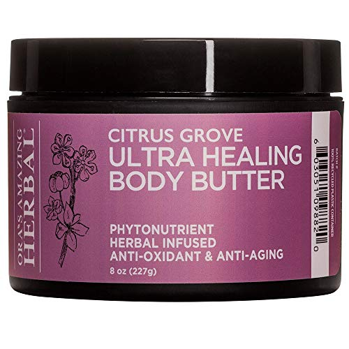 Ultra Healing Body Butter and Natural Moisturizer For Dry Hands, Cracked Heels, With Organic Shea Butter, Scented With Bergamot Essential Oil, Oras Amazing Herbal (Citrus Grove, 8 oz)