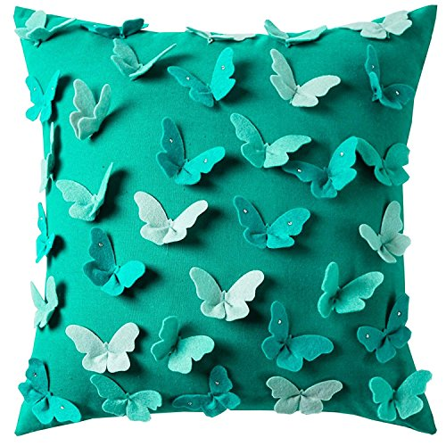 Decorative Teal Throw Pillow Cover Colorful Cushion Cover for Outdoor Decor Square Throw Pillow Cases with Diamond Tiped Wings 3D Applique Butterfly 18x18 inch Blue Green
