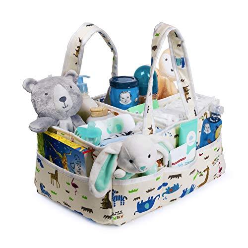 ShiShu Creations Baby Diaper Caddy Organizer | Spacious Diaper Caddy Organizer for Changing Table and Newborn Nursery Essentials | Baby Shower Registry Must Have | Cute Animal Nursery Storage Bin