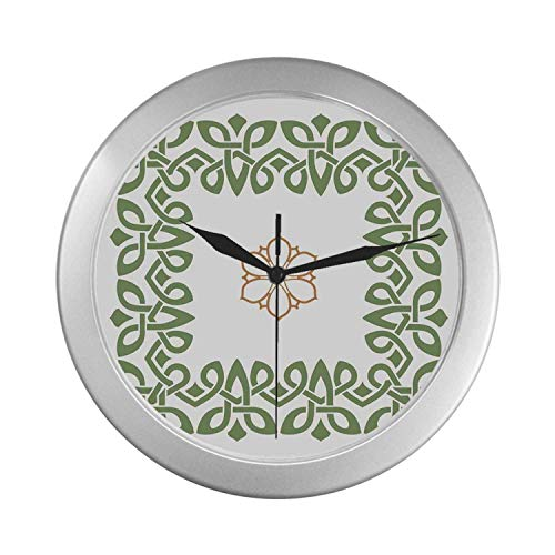 C COABALLA Celtic Simple Silver Color Wall Clock,Nostalgic Celtic Art Inspired Square Shape Frame Print with A Flower in The Centre for Home Office,9.65