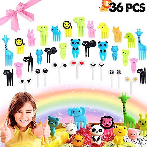?Set of 36? JeVenis Cute Animals Food Picks Mini Cartoon Toothpick Fruit Forks for Bento Box Lunch Box Decorative
