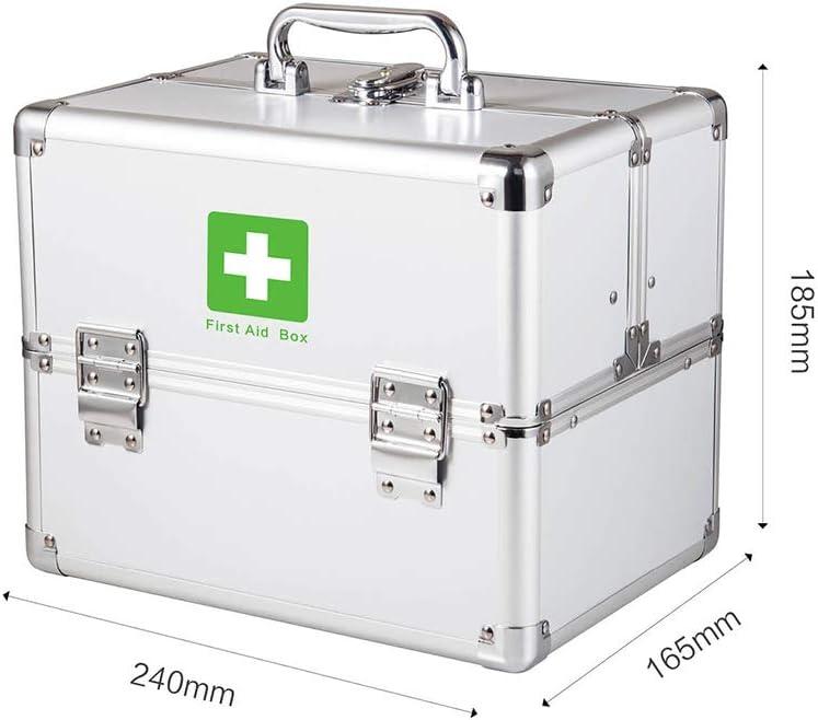 Medikamentenschrank f/ür Zuhause 2-lagig Aufbewahrungskit abschlie/ßbar unterwegs und am Arbeitsplatz First Aid Kit Tragbare kleine Erste-Hilfe-Box aus Aluminium Erste-Hilfe-Koffer