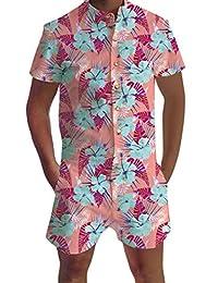 ead158d1b4e Leapparel Mens Short Sleeve Jumpsuit Casual Short Cargo Pants Rompers Slim  Fit Party Overalls Boyfriend Shorts