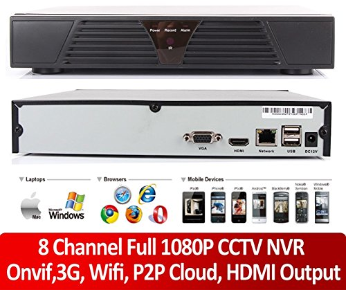 Amazon com : 8-Channel 1080P Network-Video-Recorder P2P Cloud CCTV