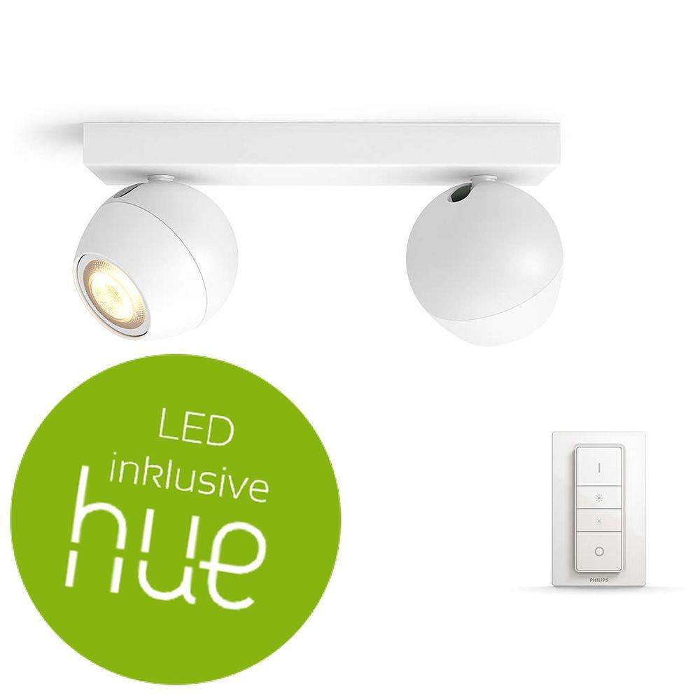 Philips Hue Weiß Ambiance Buckram Deckenleuchte 2-er Spot, inkl. Dimmschalter, weiß   LED-Kinderzimmerlampe mit Fernbedienung   Kompatibel mit AMAZON ECHO ALEXA und APPLE HOMEKIT   App-Steuerung