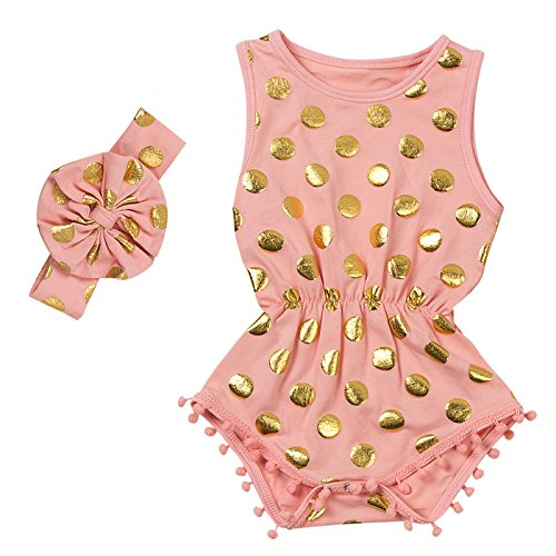 Messy Code Baby Romper Onesies Girls Clothes Gold Dot Jumpsuits Headband Outfit Sleeveless Boutique Peach Small / 6-12Month