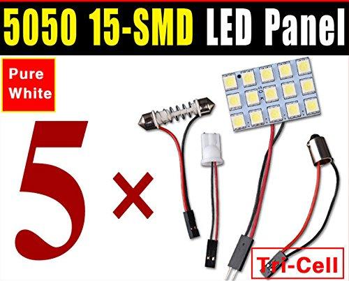 - Focuslife 5 X Car Festoon T10 BA9S White LED 5050 15SMD Panel Interior Dome Map Light Bulb