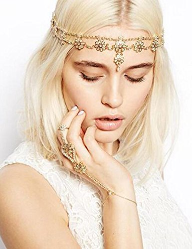 Missgrace Crystal Bohemian Women Head Chain Wedding Party Hair Accessories Bohemian (Party Headpiece)