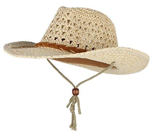Gemvie Baby Toddler Kids Sun Straw Western Cowboy Hat Wide Brim with Chin Strap (Beige)]()