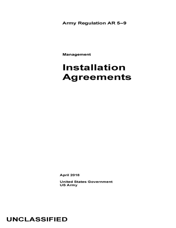 Army Regulation Ar 5 9 Management Installation Agreements April 2018