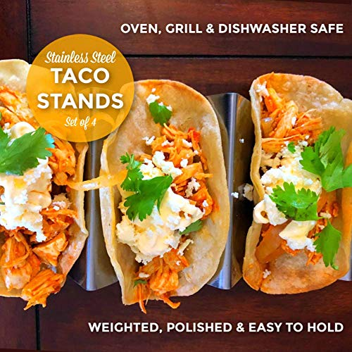 Stainless Steel Taco Holder Stand Rack with Handles by Keysali and Co. 4Pack Server Tray Set with 3 Shell Spaces - Holds 12 Hard Soft Tacos - Food Serve Platter - Oven Grill DishWasher Safe, BPA Free by Keysali & Co. (Image #3)
