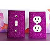 SPARKLE PURPLE GLITTER Switch Plate / Outlet Covers. SET OF 2. ALL Styles Available!