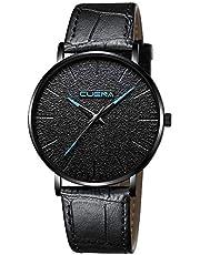CUENA Men's Simple Design Casual Ultra Thin Cheap Leather Quartz Wrist Watches