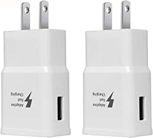 Adaptive Fast Charging Wall Charger Adapter Compatible Samsung Galaxy S6 S7 S8 S9 S10 / Edge/Plus/Active, Note 5,Note 8, Note 9, LG Quick Charge Charger (2 Pack) (White)