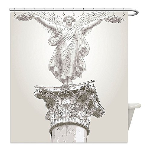 Diy Greek Goddess Costume (Liguo88 Custom Waterproof Bathroom Shower Curtain Polyester Sculptures Decor Angel Greek Goddess Muse Statue On Neoclassic Pillars Mythology Ancient Relic Decoration Decor White Decorative bathroom)