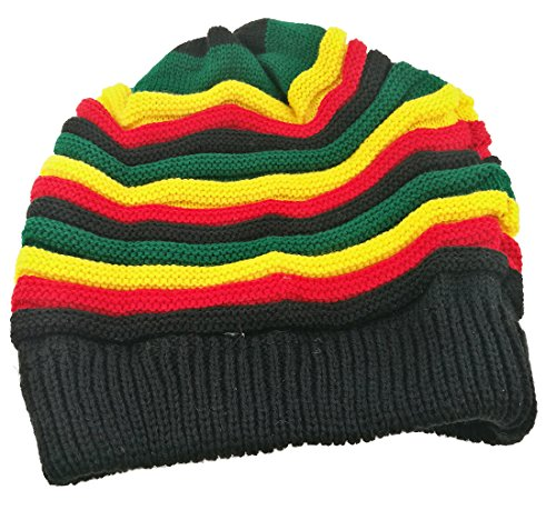 Colored Striped Long Style Hip-hop Hairy Knitted Hat-The Jamaican Reggae Hat (Green Red)