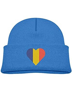 Fashion Moldova Flag Heart Printed Infant Baby Winter Hat Beanie
