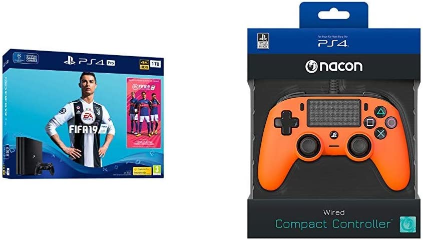 PS4 Pro 1TB + FIFA 19+Nacon - Mando Compacto para PS4, color Naranja: Amazon.es: Videojuegos