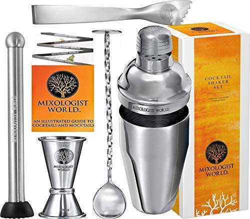 Boston Spoon Stainless Steel (Professional Bartender Kit - 24 oz Cocktail Shaker Built-in Strainer Set with Muddler, Mixing Spoon, Measuring Jigger and Ice Tong plus Drink Recipes Booklet - Premium Martini Drink Mixer)