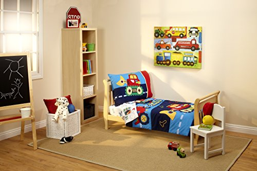 Everything Kids Toddler Bedding Set, Under Construction (Boys Toddler Bedding Set Truck)