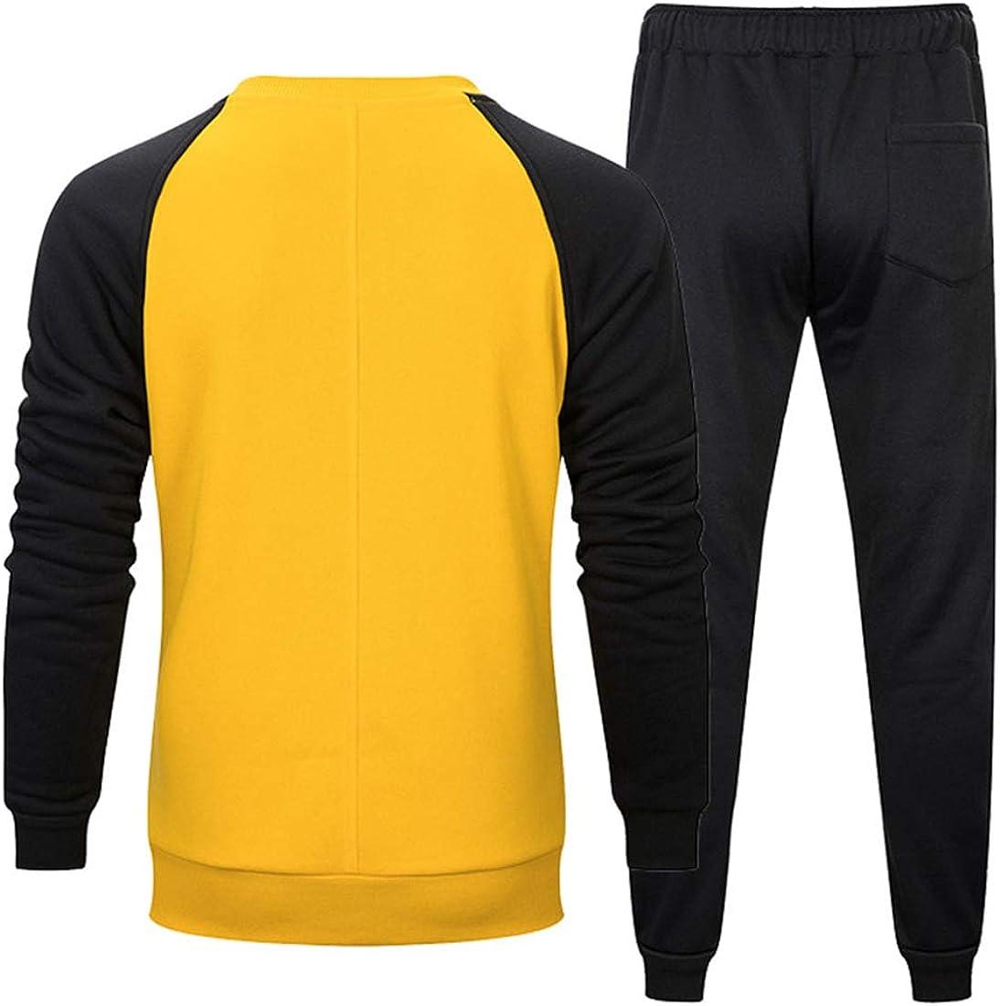 Yczx Tracksuit Mens Set Casual Raglan Sweatshirt Hoodies Top Jogging Trouser Bottoms Lounge Wear Sports Suits 2PCS Full Tracksuit Set Mens Hoodie Tops Bottom Trouser Fashion