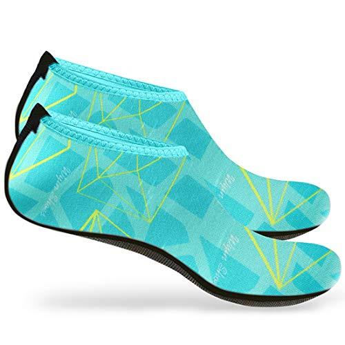Nlife Barefoot Water Shoes Aqua Socks For Beach Surf Pool Swim Yoga Aerobics,Cyan,Large,1 Pair