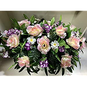 Spring Cemetery Flowers for Headstone and Grave Decoration-Pink Rose Purple Wildflower White Daisy Mix Saddle 54