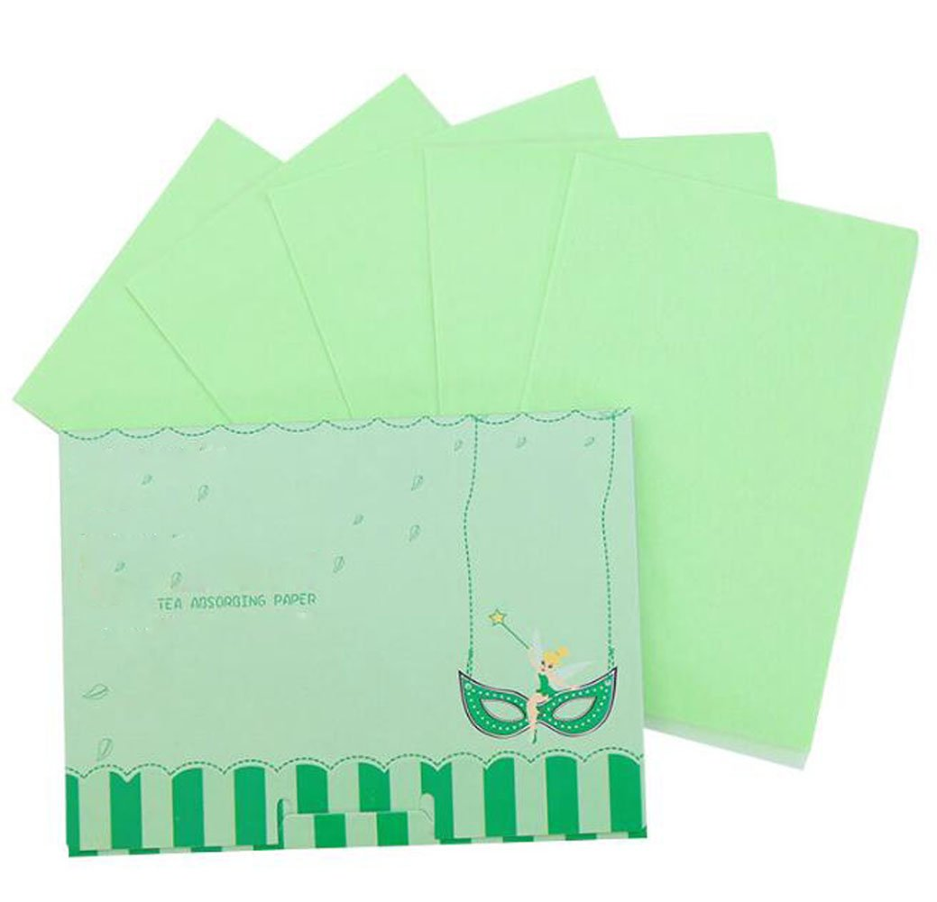 3 Pack Portable Pretie Green Tea Facial Blotting Papers Oil Absorbing Tissues - 300 Counts Premium Handy Facial Blotting Sheets - Facial Skin Care or Make Up Must Have(Green) Elandy