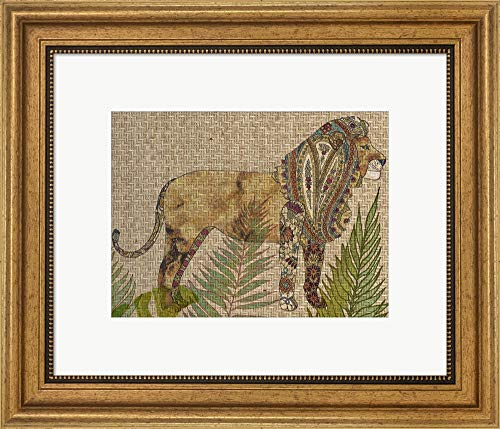 (Rattan Jungle I by Chariklia Zarris Framed Art Print Wall Picture, Wide Gold Frame, 19 x 16 inches)