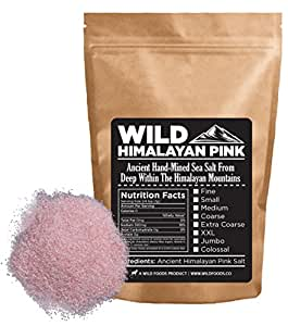 Wild Himalayan Pink Salt - 100% Natural And Healthy Gourmet Unrefined Pink Salt From Deep Under The Himalayan Mountains (16 ounce) (Fine - Cooking Size)