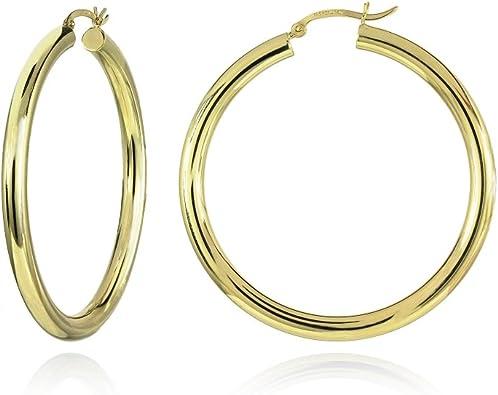 14K Rose Gold Polished Light Weight 40mm Diamond Cut Hoop Earrings