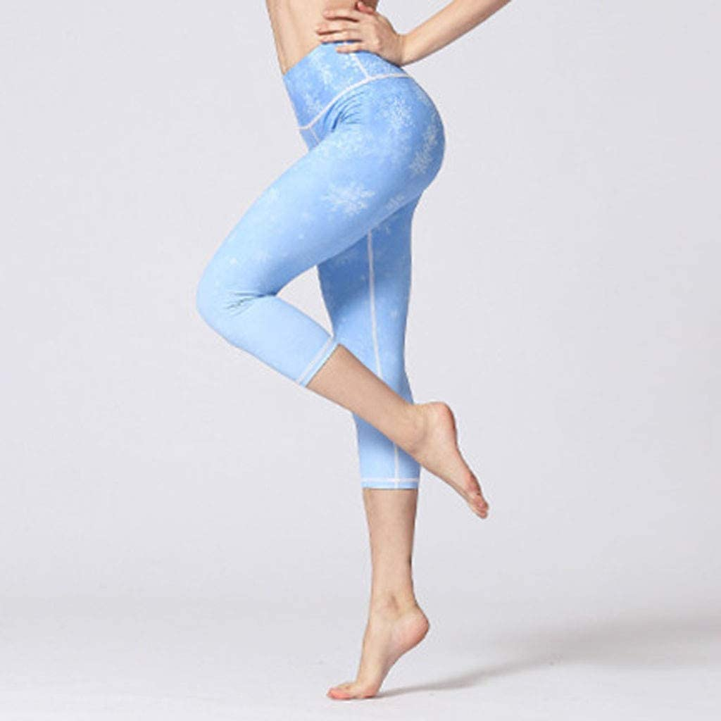 Yoga Pants High Waist Printed Fitness Plus Size Workout Leggings Tommy Control Capris for Women Dry Fit Extra Soft