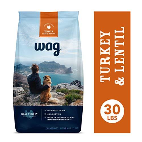 Amazon Brand - Wag Dry Dog Food Turkey & Lentil Recipe (30 lb. - Active Turkey Dogs