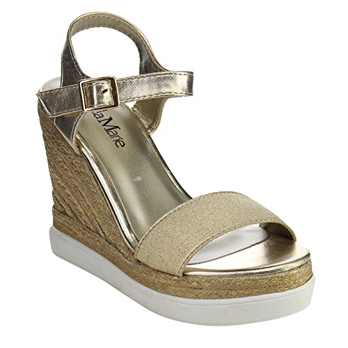 BELLA MARIE EDNA-3 Womens Espadrille Buckle Strap Slip On Slingback Wedge Sandal, Color:GOLD, Size:8