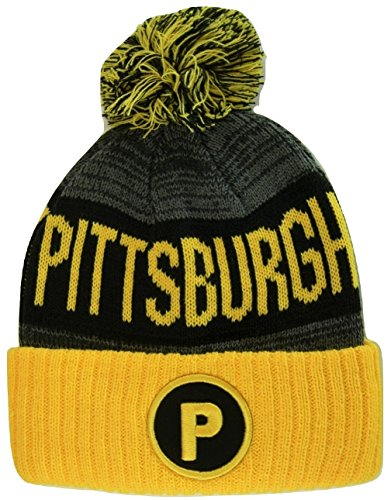 Pittsburgh Penguins Acrylic (Pittsburgh P Patch Ribbed Cuff Knit Winter Hat Pom Beanie (Gold/Black Patch))