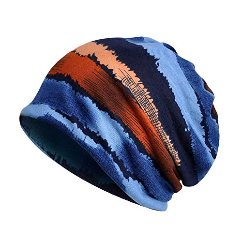 Stripe Visor Beanie - Sunshinehomely Women India Muslim Stretch Turban Hat Stripe Print Hair Loss Head Scarf Wrap (E)